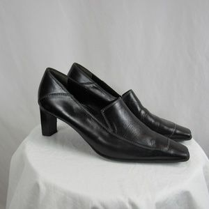 Paul Green Munchen Black Leather Sqaure Toe Heels